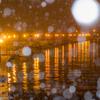 釧路川に降る雪