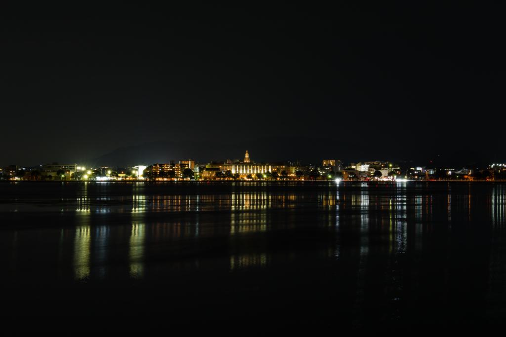 対岸の夜景(7月の瀬田川風景)