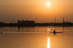 夕陽を浴びて(木場潟より)