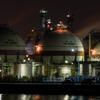 ガスタンク工場夜景1(四日市コンビナートより)