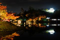 錦秋の彦根城借景3(玄宮園より)