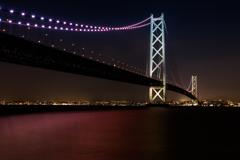 明石海峡大橋のライトアップ~道の駅あわじより~その1(淡路島観光より)