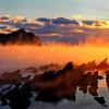 岩礁と海霧