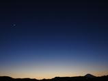 富士と三日月と金星のマジックアワー