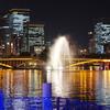 天神橋と噴水 ~通勤夜景、八軒家浜船着場より~