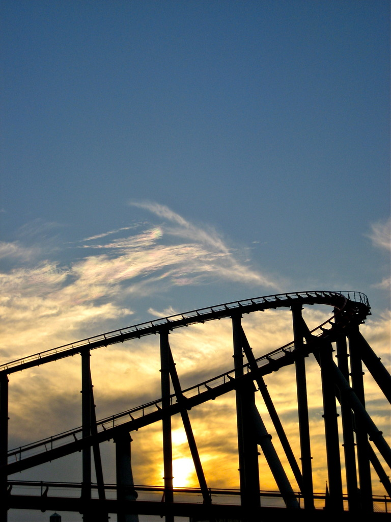 roller coaster with sunset