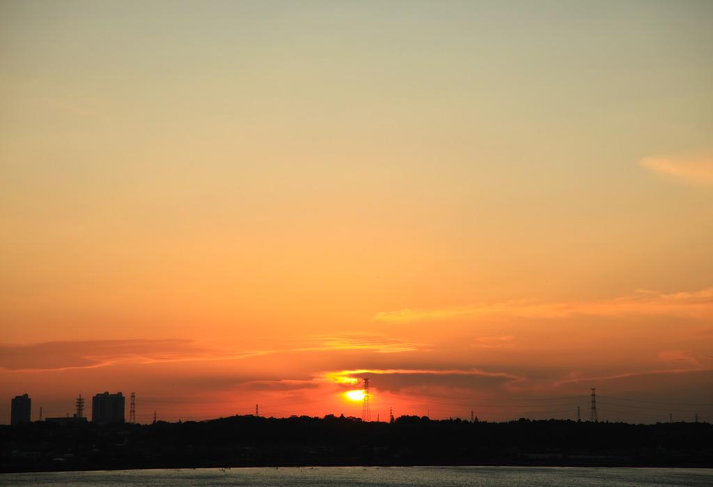印旛沼の夕日2
