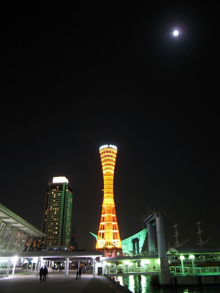 port tower under the moonlight