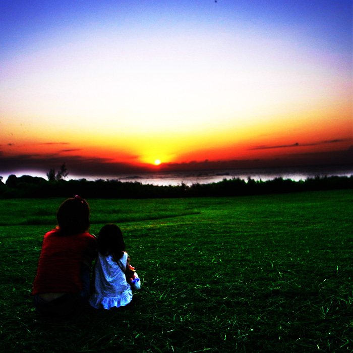 ママと見た夕日