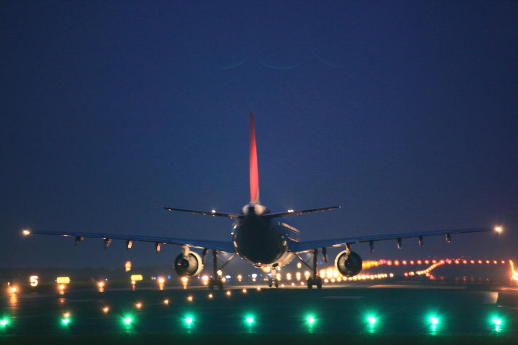 JAL  A300-600R 夜のタキシング