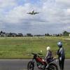 飛行機と親子